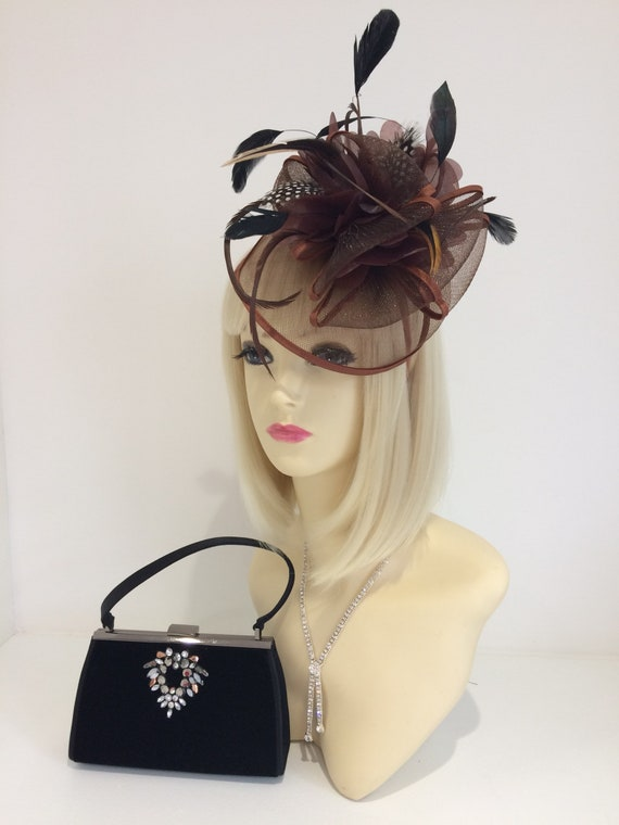 Brown coffee fascinator bronze black hat Races Wedding  5ecee076101