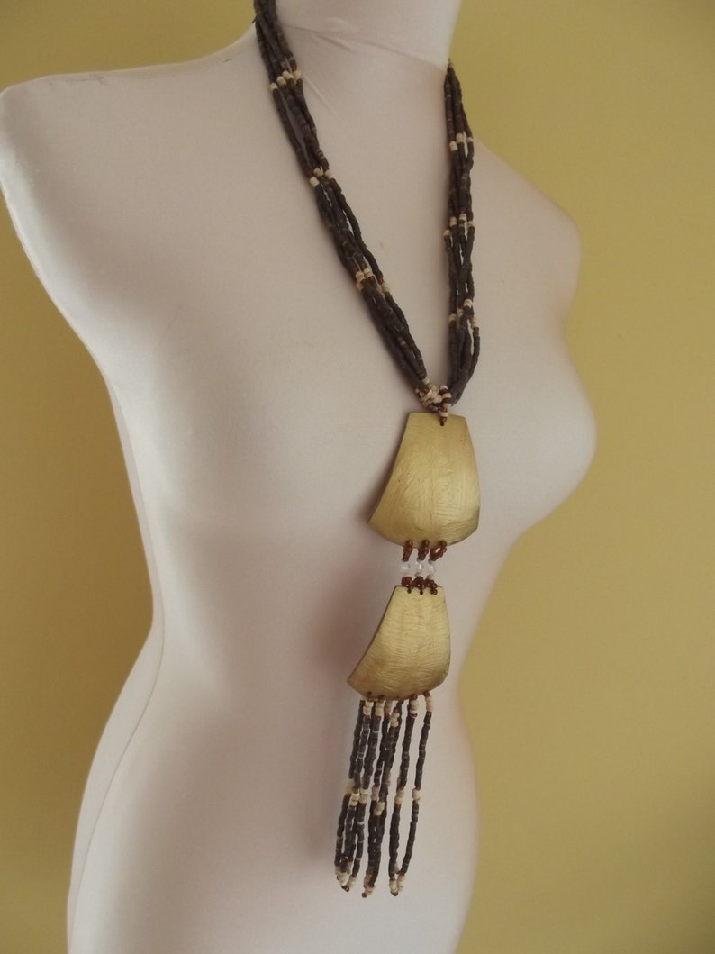 SALE WOODEN ART  large necklace beads hand crafted long necklace gold brown natural native plus size style jewellery