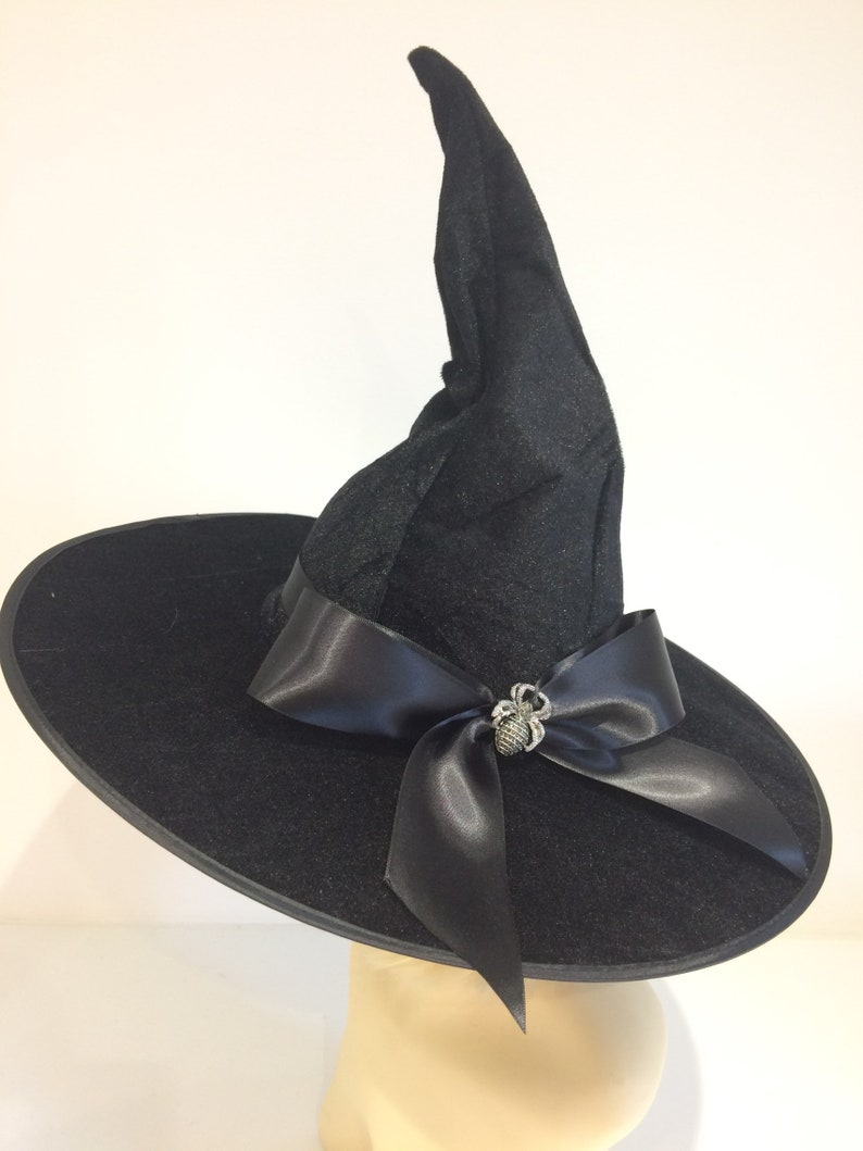 76519ef4eb5 Spider brooch witch hat black velvet witches large bow wicked