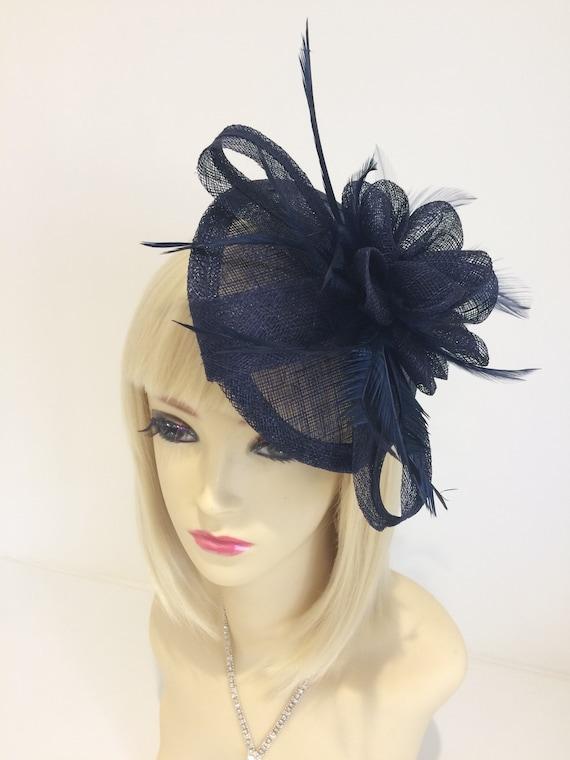 navy blue Pillbox Fascinator hat 1940 1950s large netted veil  423b4b16b99