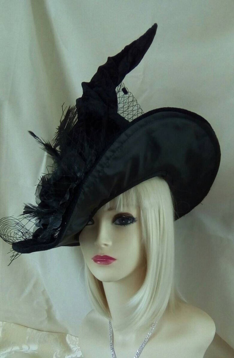 823a2364076 Last One glitter Witch hat Ostrich feather black velvet