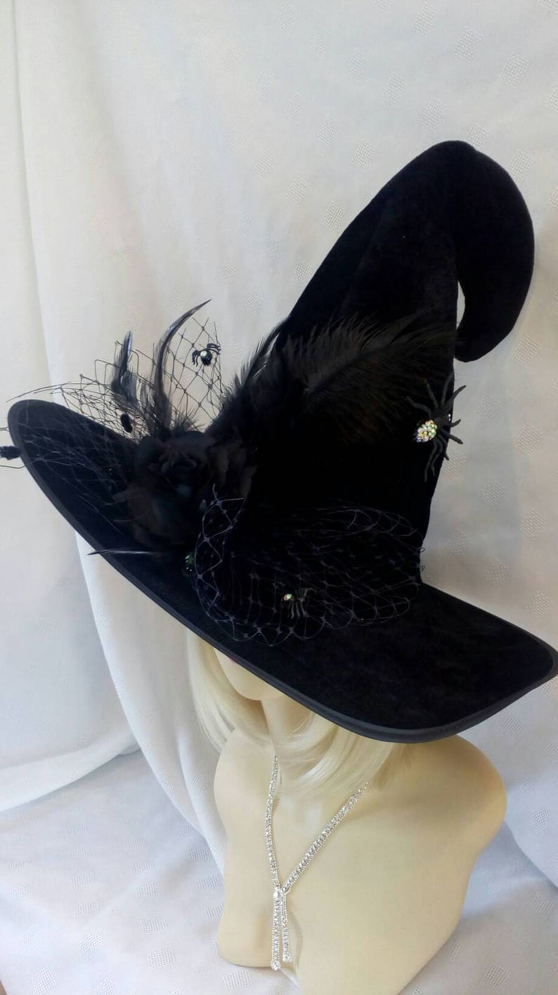 girls NEW NWT black velvet WITCH HALLOWEEN HAT COSTUME silver sparkle SPIDERS @@