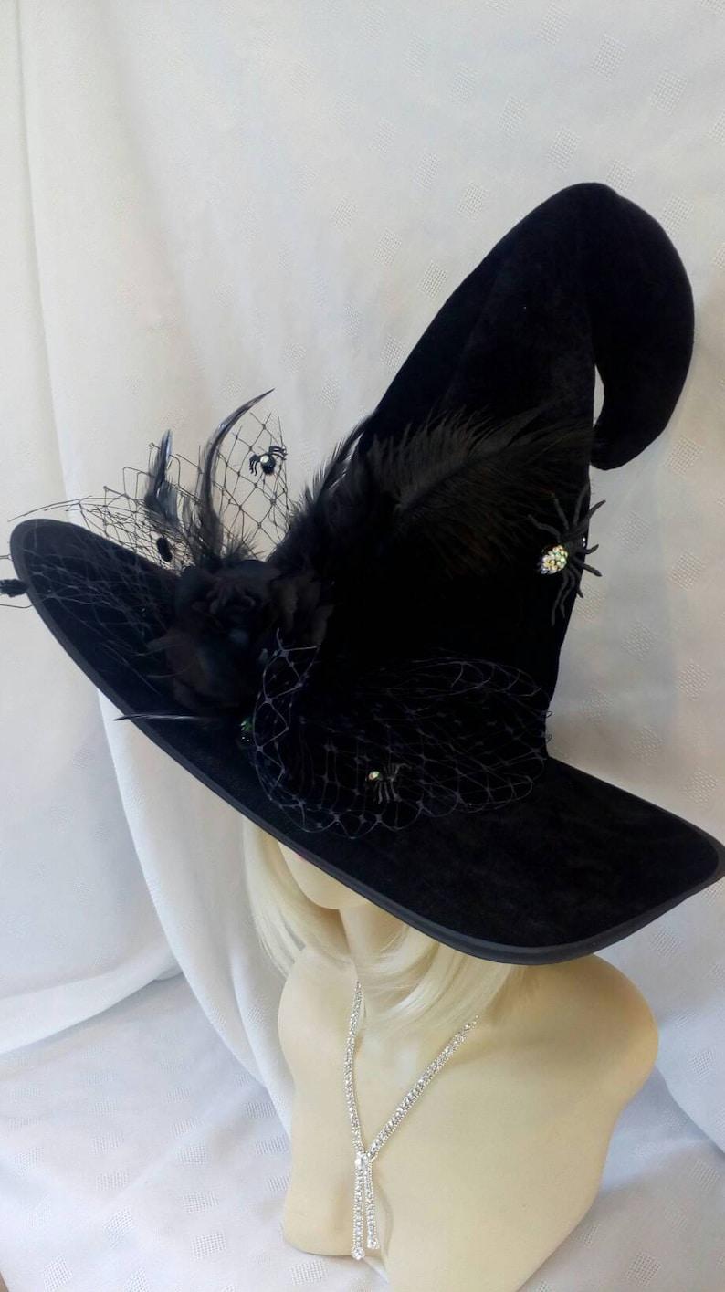 9ddcdcf55 Witch hat Swarovski spider Halloween costume black hat with rose wicked  harry potter fancy dress designer fascinator Wizard oz witches party