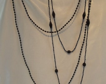 SET OF 2 Vintage 1920s 1930s flapper dancer extra long beads black necklace costume jewellery art deco downton abbey