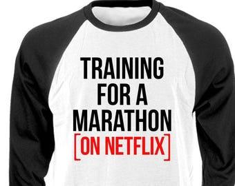 TRAINING For A MARATHON - Raglan Baseball Style T-shirt tee