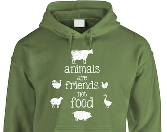 ANIMALS Are FRIENDS Not FOOD - Adult Hoodies