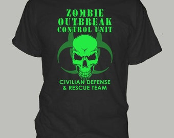 Zombie Outbreak Contol Unit t-shirts day night dead funny walking