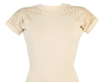 """Spiderweb - Spiced Latte - """"Daphne Jumper"""" by Miss Fortune - dolman sleeve  double web cropped rockabilly sweater cream"""