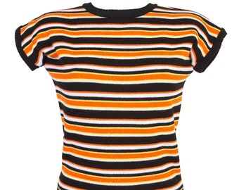 """Candy Corn - """"Daphne Jumper"""" by Miss Fortune - black orange striped cropped Halloween sweater"""