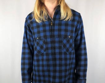 a6a4ca8a1f3 Vintage 1950 s Johnson Woolen Mills Blue Hunting Wool Flannel Jacket Size  Medium