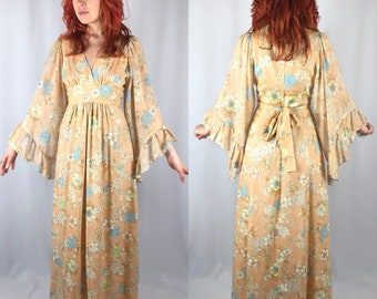 Vintage 1970's Angel Wing Floral Maxi Dress