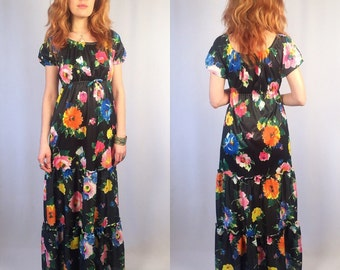 Vintage 60's 70's Floral Maxi Dress Small