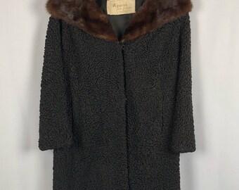 Vintage 1960's Black Persian Lamb Coat Mink Collar