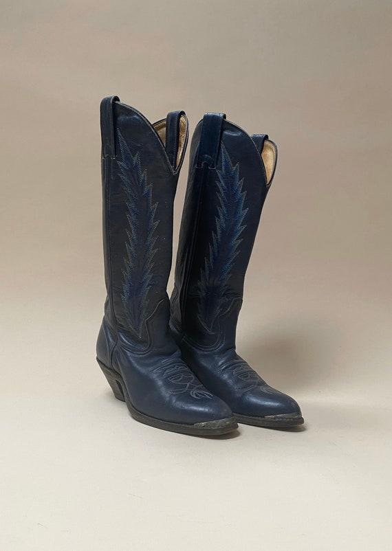 Vintage Blue Leather Cowboy Boots Size 5 Women's W