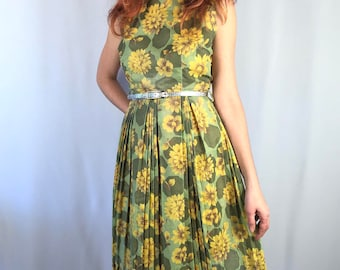 Vintage 1960's Green Yellow Floral Dress Size SMALL