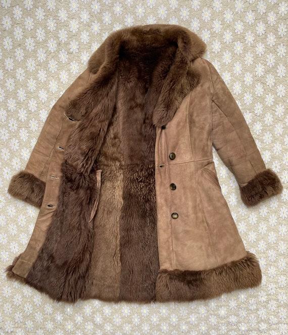 Vintage 1970's Suede Shearling Coat Penny Lane Ja… - image 7