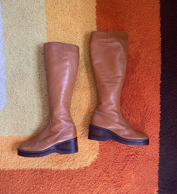 Vintage 1970's Knee High Platform Boots Size 6