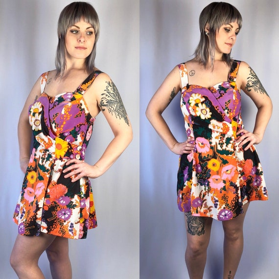 Vintage 1960's Floral Romper Mini Dress