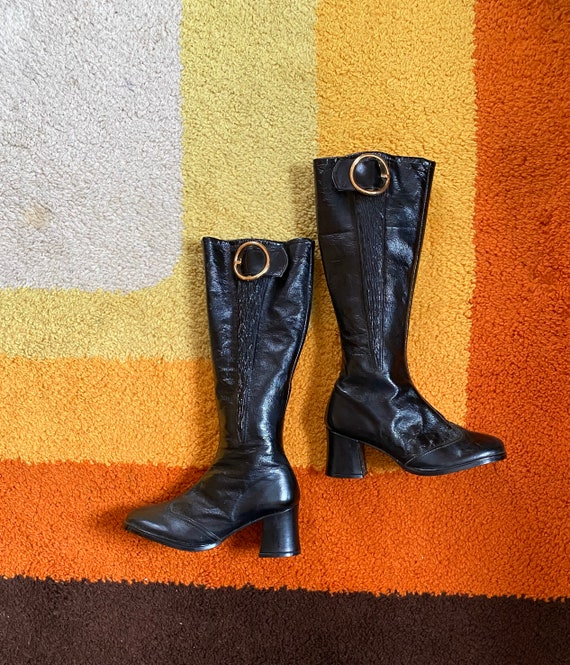 Vintage 1960's Knee High Mod Boots Buckle Go Go Bo