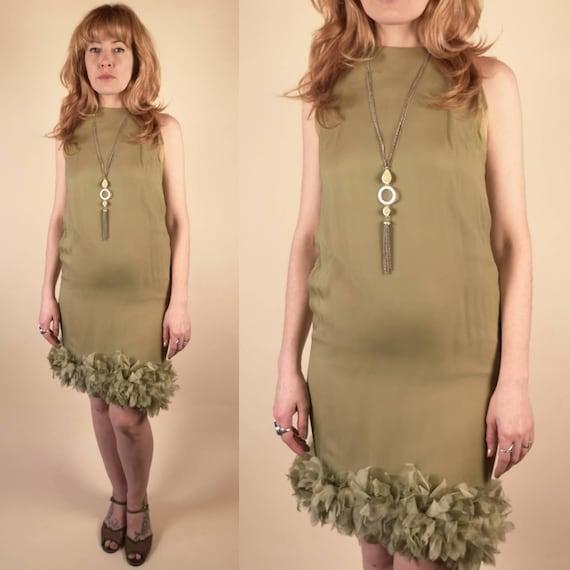 Vintage 1960's Ceil Chapman Sleeveless Olive Ruff… - image 1