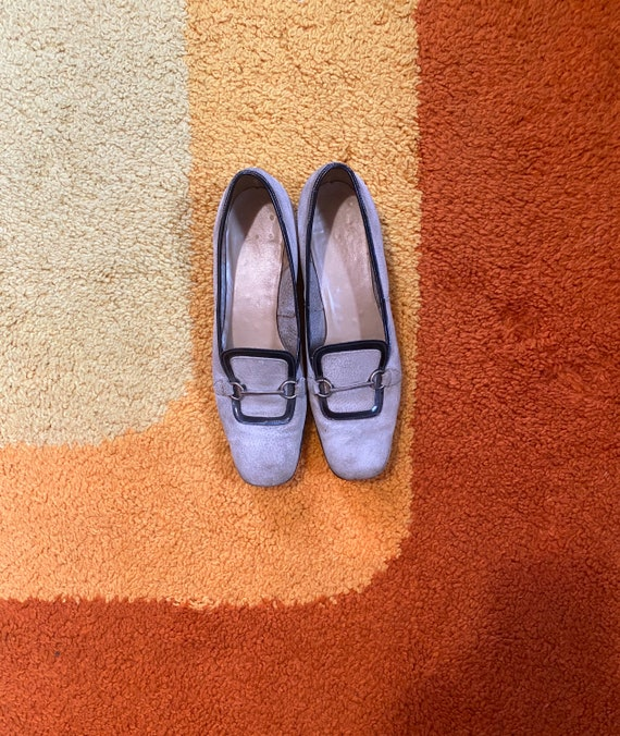 Vintage 1960's Mod Shoes Grey Suede Size 8