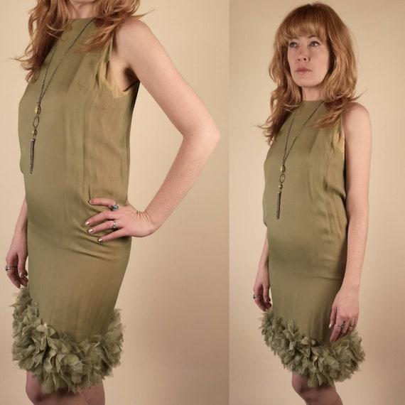 Vintage 1960's Ceil Chapman Sleeveless Olive Ruff… - image 2
