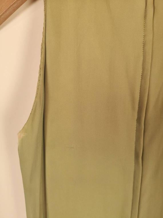 Vintage 1960's Ceil Chapman Sleeveless Olive Ruff… - image 7