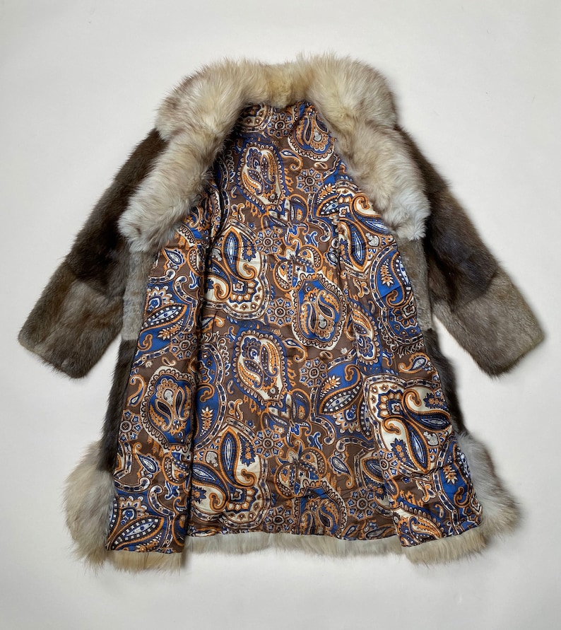 Reserved For Faye Do Not Purchase Vintage 1960\u2019s 1970\u2019s Fox Fur Trimmed Coat Psychedelic Paisley Lining Small