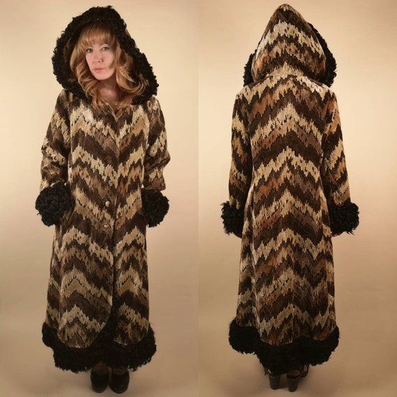 Vintage 1970's Hooded Tapestry Coat Curly Lamb Tri