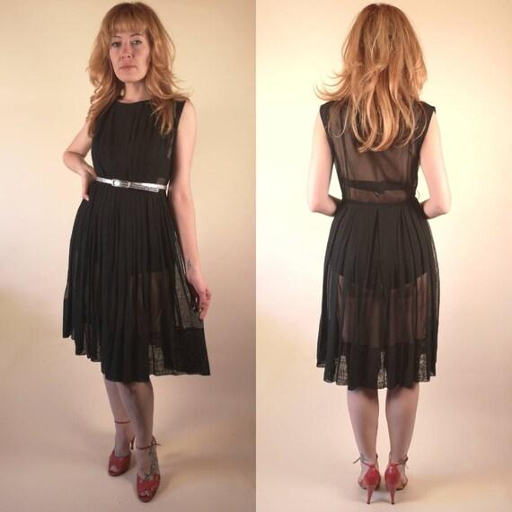 Vintage 1960's Sheer Black Dress