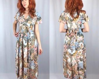 Vintage Japanese Garden Print 70's Maxi Dress Small