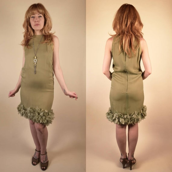 Vintage 1960's Ceil Chapman Sleeveless Olive Ruff… - image 3