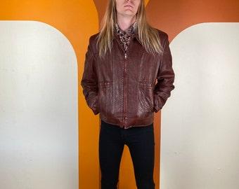 Vintage 1970's Buttery Soft Oxblood Leather Jacket Grais Size 44 Long