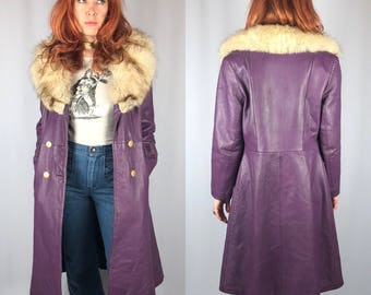 Vintage Purple Leather Fox Fur Trimmed Coat