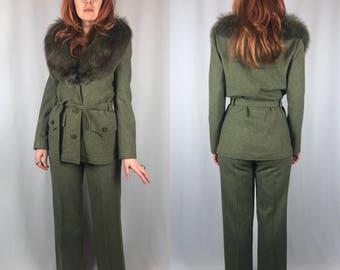 Vintage Saks Fifth Avenue 2-Piece Wool Suit Fox Trimmed Ernst Strauss