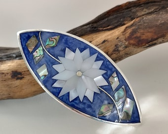 Mother of Pearl Hair Clip Boho Fashion Silver Plated Hair Accessory Vintage Abalone Shell Barrette Made in Mexico Vintage Hair Clip