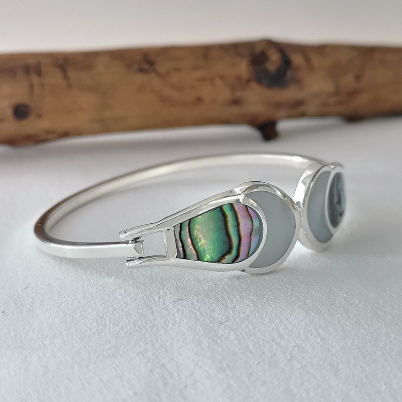 Moon Bracelet Celestial Bracelet Silver Plated Shell Inlay Abalone Bracelet Mother of Pearl Mexican Jewellery Crescent Moon Bangle