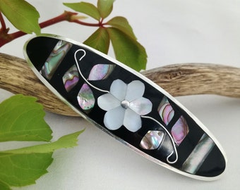 Flower Barrette, Hair Accessories, Mexican Jewellery, Hair Clip, Boho Accessories, Abalone Shell, Mother of Pearl, Silver Plated
