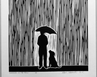 Standing In The Rain - Linocut Print, Signed Artist Proof