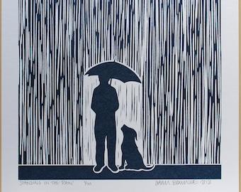 Standing In The Rain - Screen Print ~ Metallic blue Edition