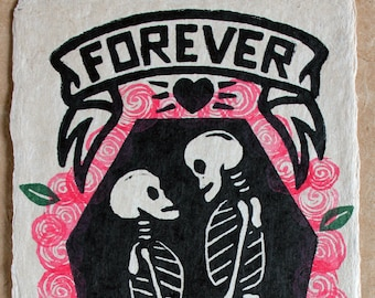 Forever Ever Roses - The linocut 'Forever Ever' Hand Finshed with Roses, Signed, Numbered Edition of 150