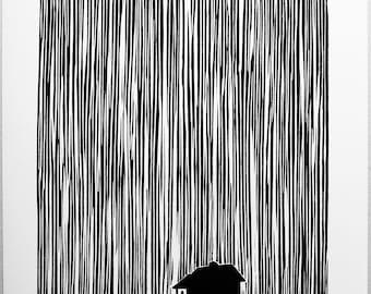 The Rain 2. A linocut print on Zerkall print paper.