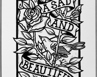 Sad And Beautiful - Linocut Print, Signed and Numbered Edition of 100
