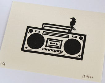 Bird And Boombox - Lino cut print, signed and numbered in an edition of 18