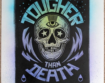 Tougher Than Death - Number 12. Lino print on hand painted Japanese paper.