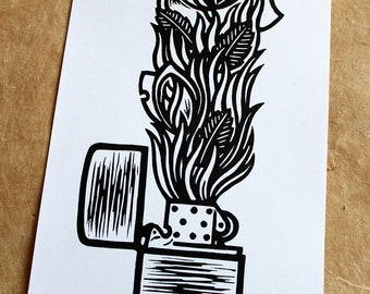 The Flames Rose - Handmade linocut print on Japanese paper, signed and numbered in an edition of 30