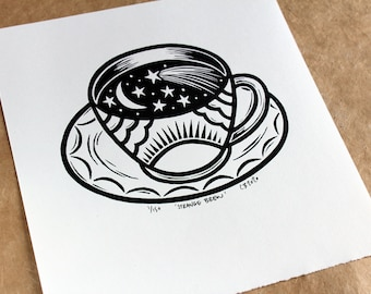 Strange Brew - Handmade linocut print on Zerkall paper, signed and numbered edition.