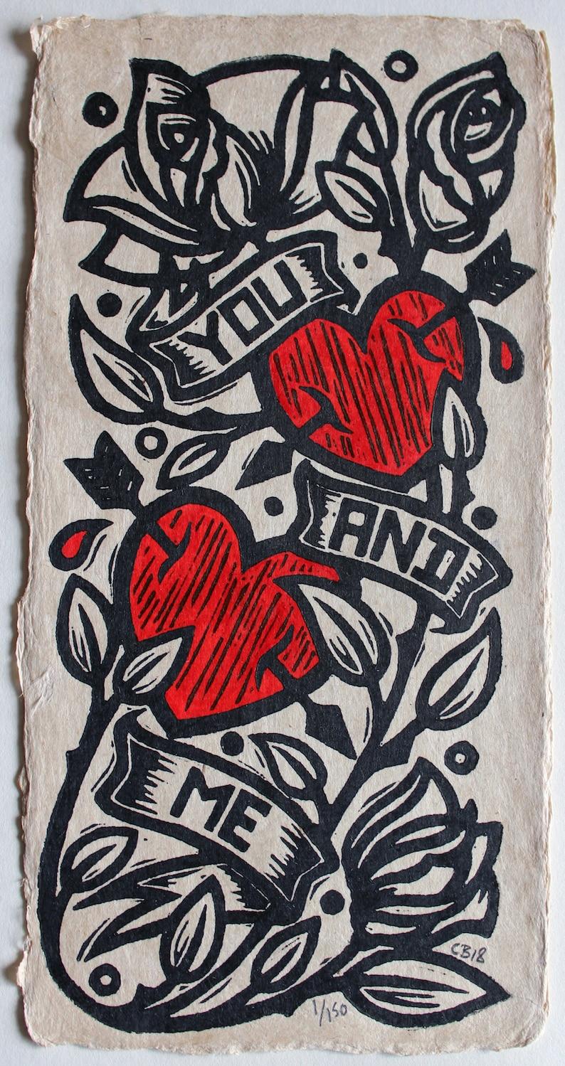 You And Me   a  handpainted linocut on handmade Bhutanese image 0