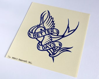 Better Days - Blue - Handmade print linocut print on Japanese paper in an edition of 30