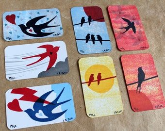 Mini Print/Trading Cards. (Set A) Four Card LUCKY DIP - Four Handmade mini card prints sealed in an envelope in handprinted packaging.